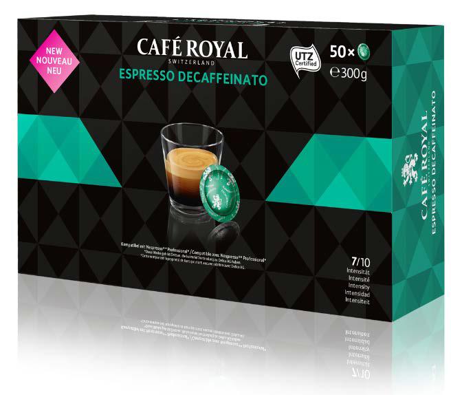 fc20cd0e954b86 Nespresso Pro Espresso Decaffeinato (Koffeinfrei) - 50 Kompatible  Kaffeekapseln von Café Royal Schweiz. Grundpreis pro 100g: 4,05€